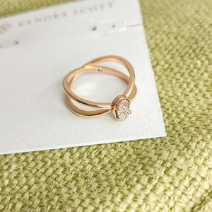 Emilie Sand Drusy Rose Gold Double Band Ring size7